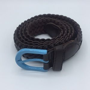 Other - Genuine leather braided belt with blue buckle